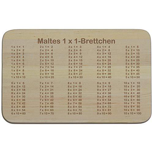 Frühstücksbrett mit 1 x 1 Gravur zur Einschulung (mit Name): optional mit Wunschname personalisiert und spülmaschinenfest - Lern-Holzbrett/ Schneidebrett mit dem Einmaleins, Geschenkideen für spielerisches Lernen
