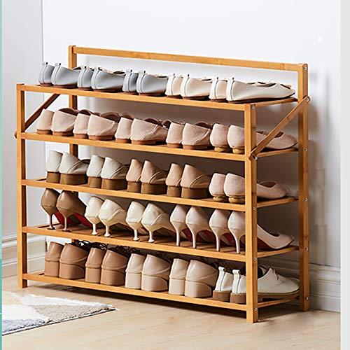 5 Niveles Portátil Estante De Almacenamiento Multifuncional De Estantes De Zapatos,Rack De Zapatos De Bambú,Instalación Gratuita Zapatero Para Los Estantes De Soporte De Plantas-Color de madera 90x23.