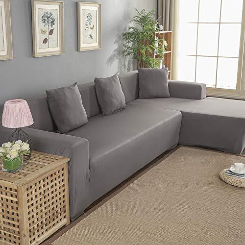 Housse de canapé 3 + 2 places, en forme de L, housse de canapé d'angle en polyester (gris)