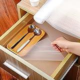 Homease Schubladenmatte Küche 45x500 cm rutschfest Wasserfest Schrankpapier für Schubladen Regale Schränke Kühlschränke, Antirutschmatte Schubladen Große Formate Zuschneidbar, Transparent