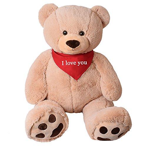 TE-Trend XXL Riesen Teddy Tatzen Rico beige Kuscheltier Plüsch Bär 135 cm Geschenk mit rotem Tuch I Love You