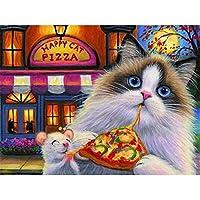 5Dフルダイヤモンドダイヤモンド塗装キット 猫のクリスマス フルダイヤモンドクリスタルラインストーン刺繍家の壁の装飾アートクラフト壁アート-(12x16inch)フレームレス