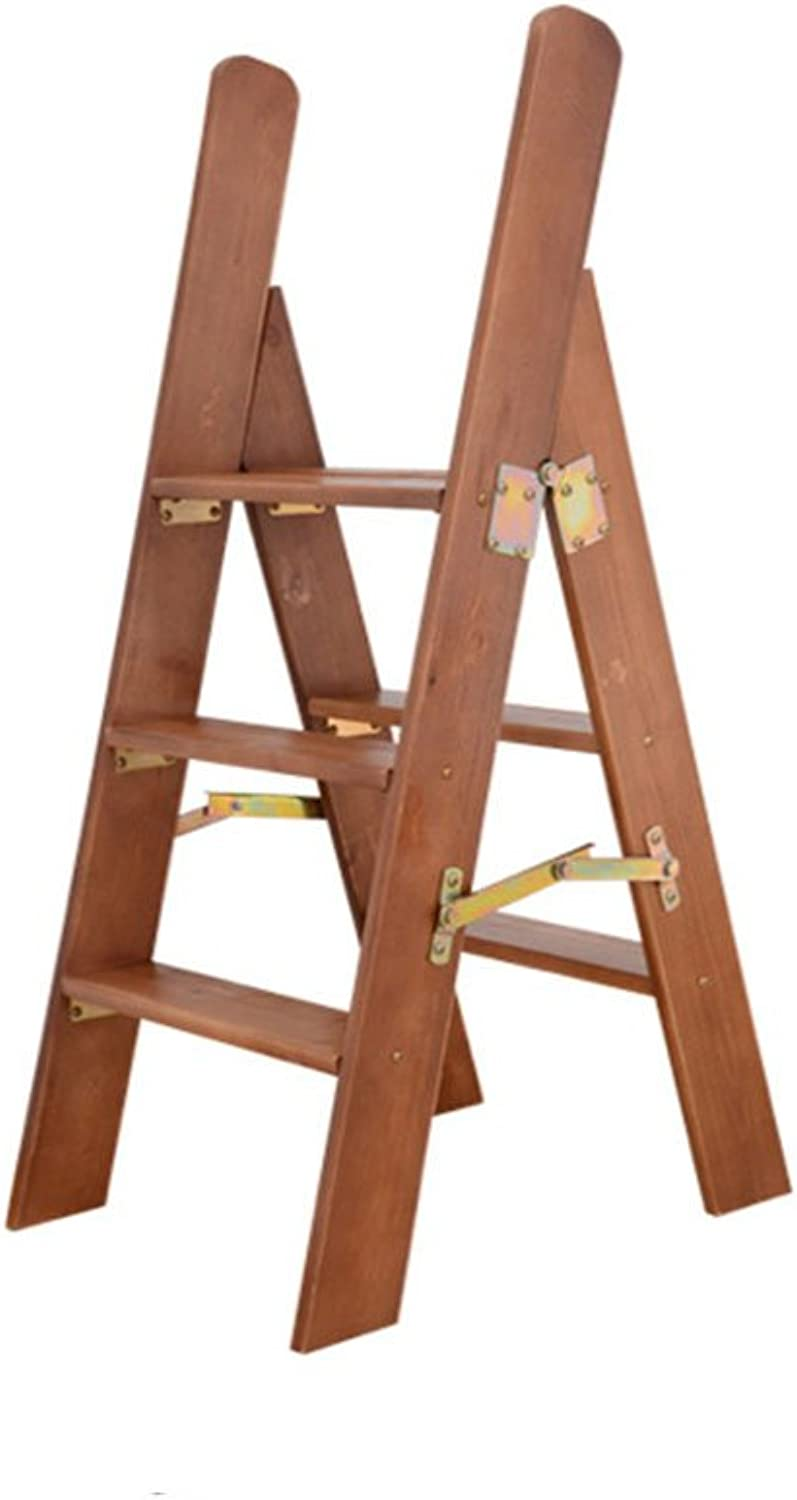 Qivor Step Stool, Character Ladder Folding Stool Stool Household Solid Wood Multifunctional Ladder (color    2)
