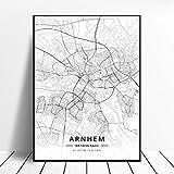 zhuifengshaonian Póster Almere Alkmaar Arnhem Amersfoort Haarlem Utrecht Zwolle Países Bajos Mapa (ZW-1839) Sin Marco Poster 40x60cm
