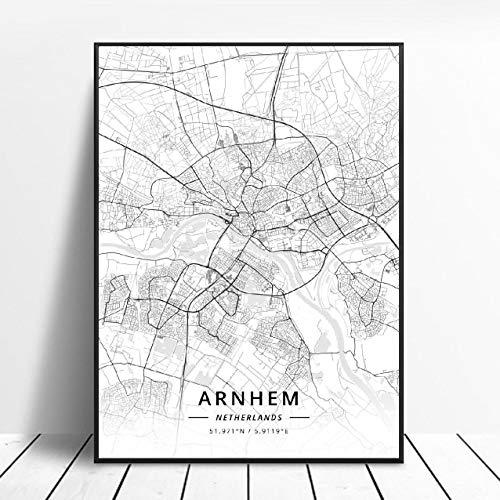Almere Alkmaar Arnhem Amersfoort Haarlem Utrecht Zwolle Netherlands Map Poster (ZW-1839) Geen frame poster 40x60cm