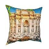 Throw Pillow Funda Fundas de Almohada 45x45CM Trevi Fountain Hotel en Roma, Italia decoración para la decoración del hogar Oficina Sofá Holiday Bar Café Boda Coche