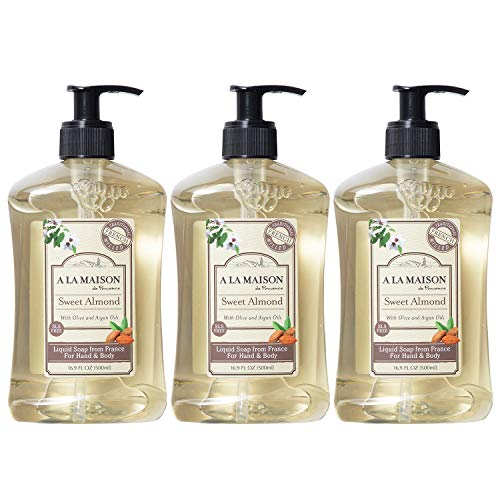 A La Maison de Provence Liquid Hand Soap | Sweet Almond Scent | French Milled Moisturizing Natural Hand Soap | in 16.9 oz. Pump Bottles | (3 Pack)