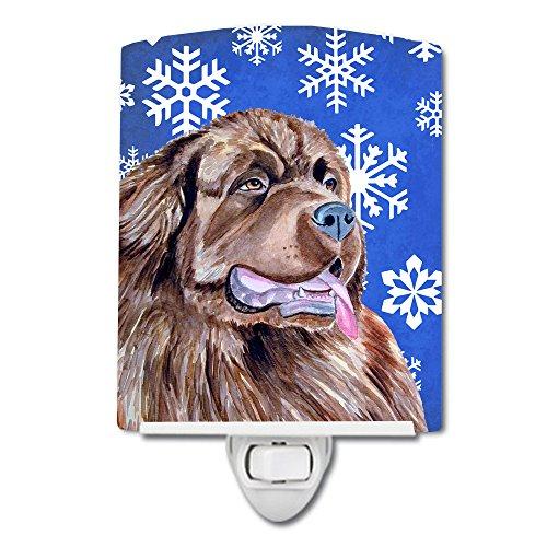 Caroline's Treasures LH9264CNL Newfoundland Winter Snowflakes - Luz nocturna de cerámica, 6 x 4 x 3, multicolor