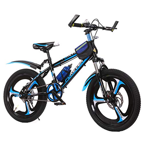 BAOMEI Kids Bike 18' Kids Outdoor Bicycle,for 7-13 Years Old Adjustable Children Mountain Bike,Blue, Red, Yellow (Color : Blue)