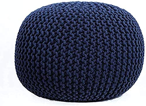 Nishtha Overseas Pouf Puffy for Living Room Sitting Round Ottoman Bean Filled Stool for Foot Rest Home Furniture Rope Twisted Bean Bag Design 14 inch Height 1Pc Navy