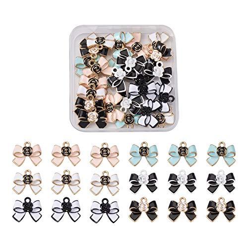 Cheriswelry 24 colgantes esmaltados con lazo, lazo, lazo, con abalorios de flores, para hacer manualidades, joyas, pulseras, manualidades (6 colores)