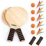 Overmont Raquette Ronde de Badminton en Bois Massif épais + 5 Volants en Trois Plumes + 5 Ballons de Plage pour Sports en Salle ou en Plein air