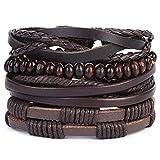 Mix 4 Wrap Bracelets Men Women, Hemp Cords Wood Beads Ethnic Tribal Bracelets, Leather Wristbands (A)