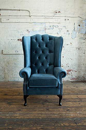 JVmoebel Sillón Chesterfield con orejas, 1 plaza, sofá, acolchado, tela, piel