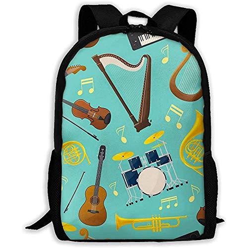 Lmtt Rucksack Musik Gitarre und Schlagzeug Bookbag Casual Reisetasche für Teen Boys Girls