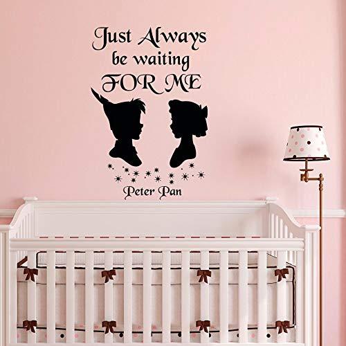 tzxdbh muursticker gewoon altijd wachten voor mij neverland Wendy Peter Pan kinderkamer beddengoed muur kunst baby kamer huis Decor 57x84cm