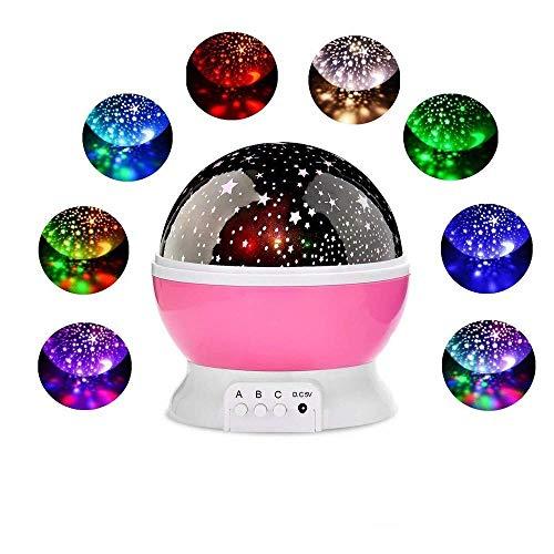 Pkfinrd nachtlampje projector Star Moon Sky roterende batterij-aangedreven bedlampje voor kinderen baby slaapkamer kleuterschool