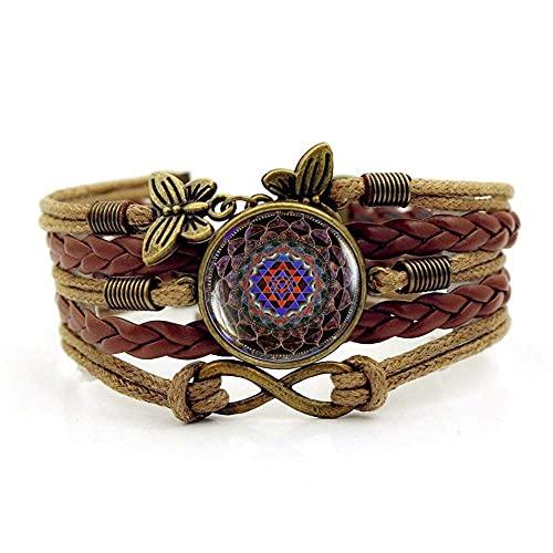 Pulsera tejida, cuerda marrón indio yoga religioso meditación arte, hora pulsera de piedras preciosas múltiples capas combinadas de vidrio tejido a mano de la joyería de las damas de la moda de la mod