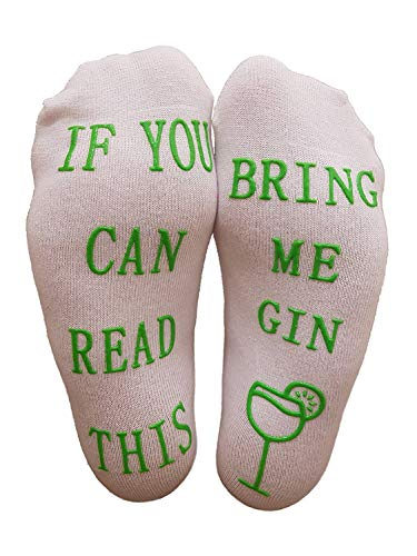 Gin-Socken mit If You Can Read This Bring Me Gin von Miana's, lustiges Wein-Zubehör für Frauen, tolles Geburtstags- & Gastgeschenk