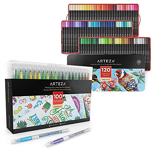Arteza Fineliner Pens And Dual Tip Twimarkers Bundle, Drawing Art Supplies for Artist, Hobby Painters & Beginners
