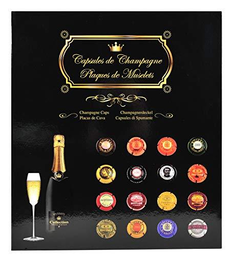 Exacompta 96110E Premium Champagner-Kapsel-Album für 64 Champagner-Kapseln, ideales Sammelalbum zur sicheren Aufbewahrung mit Schaumstoff gepolstert, Sammelbox schwarz