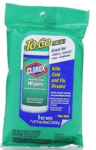 Clorox Disinfecting Wipes To Go Pack, Fresh Scent 9 ct (Pack of 5)