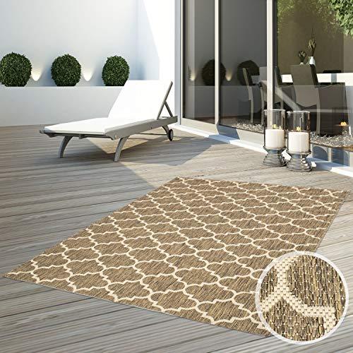 CC Teppich Flachflor Terrassenteppich Außenteppich Modern Outdoor fest Geknüpft Outside Outdoor Verschiedene Designs, Größe in cm:160 x 230 cm, Sunset:Gitter-Beige