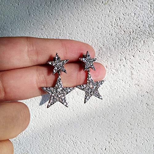 Chwewxi Mode Wilde Sterne lieben einfachen Stil Ohrringe Ohrringe einfache Haar Ball Bogen Ohrringe Temperament weiblich, kastanienbraune 73# Silber Stern Ohrringe