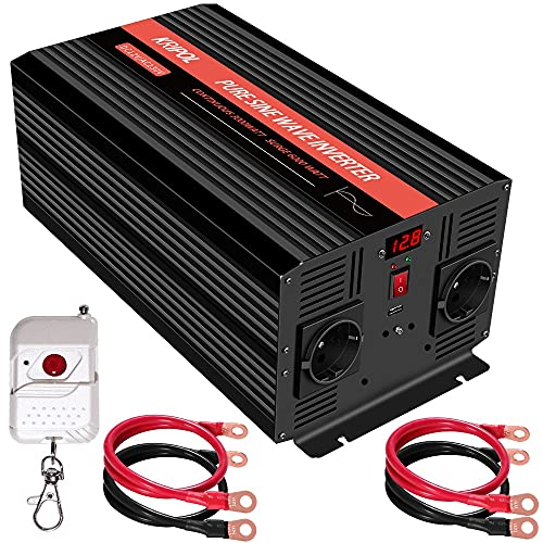 KRIPOL Inverter Onda sinusoidale Pura 3000 Watt 12V DC a 220/230V AC Inverter Potenza per Auto con 2 Prese CA 1 USB 2.1AH -Telecomando Senza Fili e Display a LED - Potenza di Picco 6000 Watt