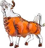 Luomei Decantador de Vino con Forma de Vaca, Botella de Calavera de Cristal Transparente, Botella de Hormiga de Halloween de Whisky, Vodka, Brandy, Ginebra, Capacidad 750ml