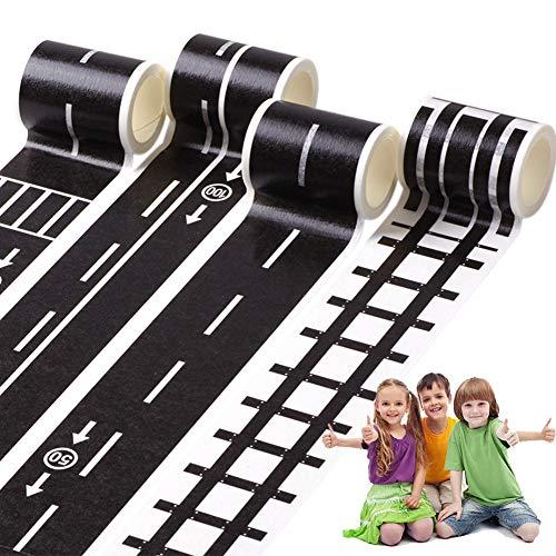 4 Rolls Railway Road Washi Klebeband Verkehr Straße Dekorative Bänder Masking Tape Klebeband Landstraßen-Verkehrsband für Spielzeug-Autos