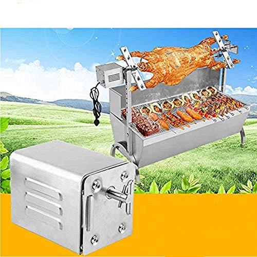 Kacsoo Barbacoa de Acero Inoxidable, Motor eléctrico para asador Accesorios para Barbacoa Cerdo Cabra asador para asador, Ideal para cocinar un Picnic de Campamento.