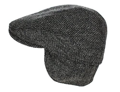 Biddy Murphy Men's Ear Flap Cap 100% Wool Tweed Made in Ireland Grey Large