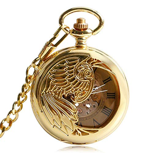 DZNOY Reloj de Bolsillo, Clásico Reloj de Oro Esqueleto Colgante Exquisito Phoenix Automático Mecánico Auto Binderado Regalo Reloj de Bolsillo (Color : Gold)