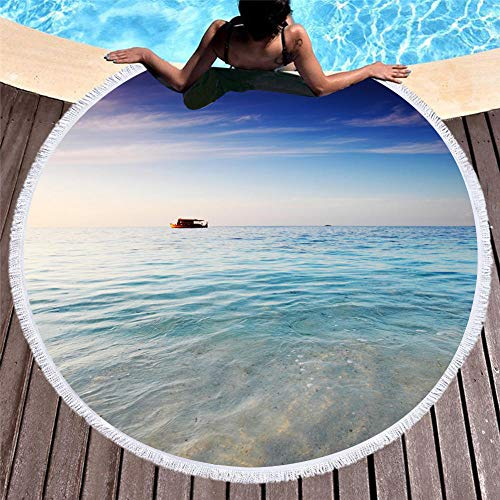 Vanzelu strandhanddoek 150X150Cm, absorberend groot bad handdoek, picknick vakantie strand mat, 150Cm blauwe hemel en witte wolken