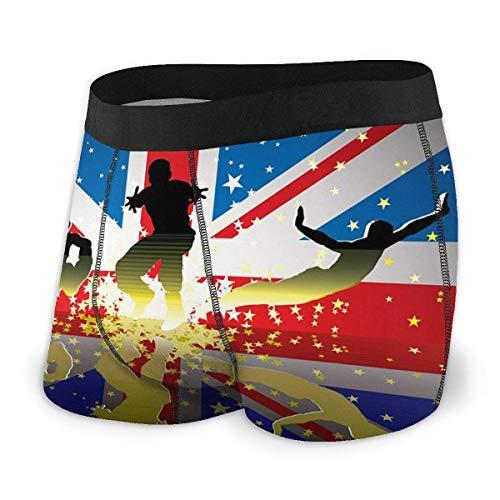 Pretty Moonlight Herren Boxer Brief Britische Flagge Sportfiguren Schutz Brief/Shorts/Unterwäsche Leichtgewicht