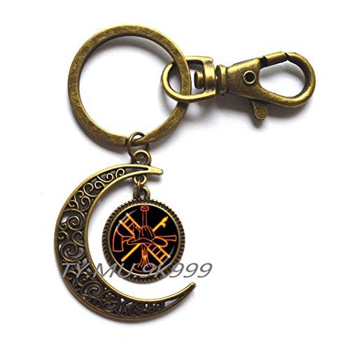 Rescue Firefighter Moon Keychain Fire Fighter Moon Key Ring Fireman Jewelry Fire Department Moon Key Ring Moon Keychain Glass Cabochon Jewery.Y070 (2)