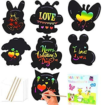 MAOYUE 28 Pack Valentines Cards for Kids Valentines Cards with Scratch Paper Scratch Art for Kids Valentines Class Gifts Valentines Exchange Cards for Classroom Envelopes Included