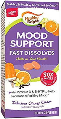 Healthy Delights, Mood Support & Enhancement, Orange Cream Flavor Fast Dissolves, Naturally Flavored, Packed with Vitamin D, 5-HTP, 126 Count
