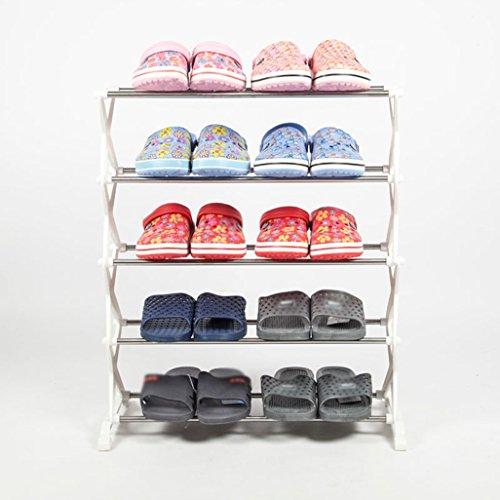 ZZYE Zapatero Estantes de Zapatos 5 Niveles Almacenamiento de plástico Estantes organizadores de Zapatos para 10 Pares (2 Color) 56 * 26 * 66cm Perchero Zapatero (Color : White)