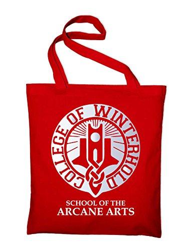 Styletex23 #2 College of Winterhold Logo Jutebeutel Baumwolltasche, red