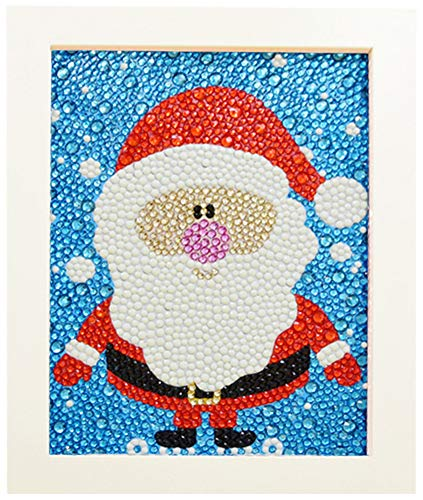 GEOUSY Easy DIY 5d Diamond Painting Kits with Wooden Frame for Beginners, Kids and Adults Christmas Gift - Father Christmas (Frame Size: 9.1 x 7.1 inch)