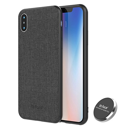 bb face Magnetic Case iPhone X Case, Slim Fabric Pattern PU Leather Pressed Protective Back Cover Defender Case with Embedded Magnet for Car Mounts - 5.8 inch, Black,Released 2018