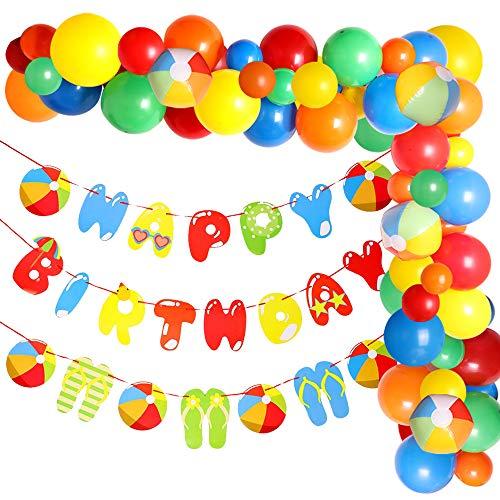 Beach Ball Birthday Party Decoration Set, Balloon Garland Kit, Happy Birthday Banner for Splash Pool Summer Theme Celebration