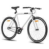 Hiland Road Bike 700C Wheels with Single-Speed City Bike Urban City Commuter Bicycle White