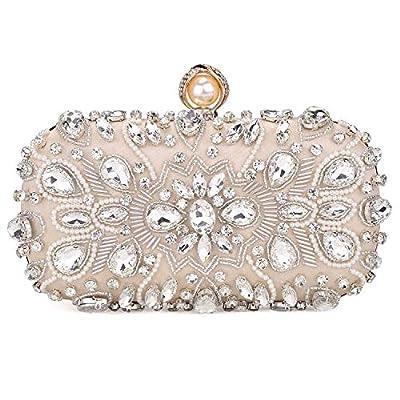 GESU Large Womens Crystal Evening Clutch Bag Wedding Purse Bridal Prom Handbag Party Bag.