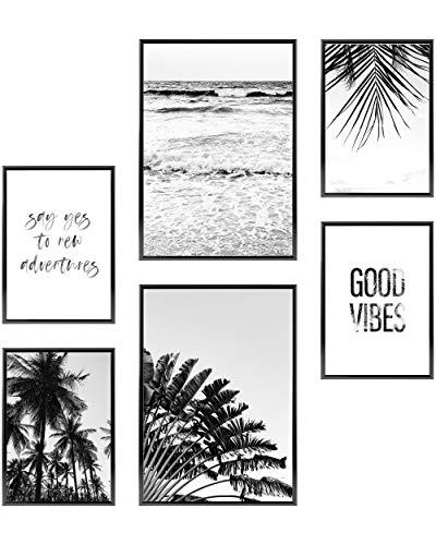 Heimlich Cuadros Decorativos - SIN Marcos - Decoración Colgante para Paredes de Sala, Dormitorios y Cocina - Arte Mural - 2 x A3 (30x42cm) et 4 x A4 (21x30cm) | »Good Vibes «