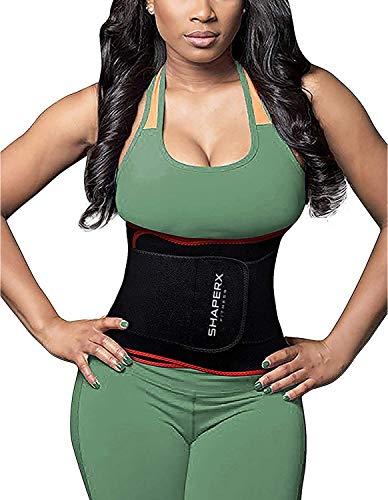 SHAPERX Waist Trimmer Belt Waist Trainer Belt Hot Neoprene Sauna Sweat Belly Band Weight Loss Burner Waist Eraser Belt,SZ8010-Red-New-S