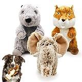 Xnuoyo 3 Paquetes Juguetes con Sonido para Perros Lindos Juguetes de Peluche para Cachorros con chillones Mascota Juguetes Interactivo Entrenamiento (Elefante de pie + marmota + Ardilla)