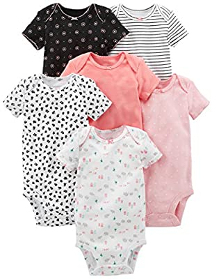 Simple Joys by Carter's Baby Girls' 6-Pack Short-Sleeve Bodysuit, Pink, Black/White, 6-9 Months